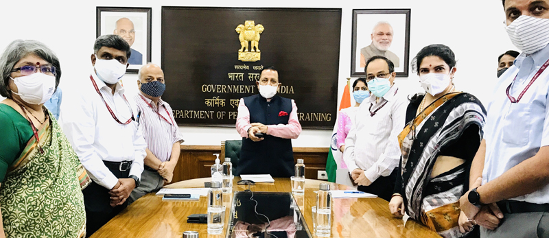 Union Minister Dr Jitendra Singh launching e-book Civil List-2021 of IAS officers at North Block, New Delhi on Tuesday.