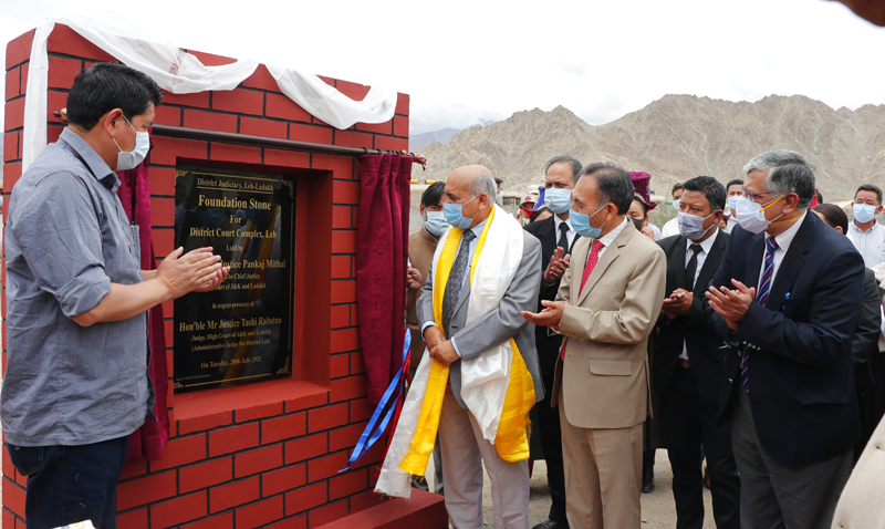 Chief Justice Pankaj Mithal laying foundation stone for District Court Complex at Leh on Tuesday.