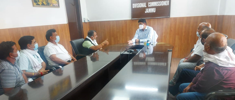 SCOA delegation meeting with Div Com Jammu on Wednesday.