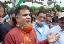 BJP J&K President, Ravinder Raina during a party meeting at Shopian on Thursday.