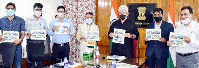Lt Governor, Chief Secretary and other officers releasing e-book of projects completed during 2020-21.