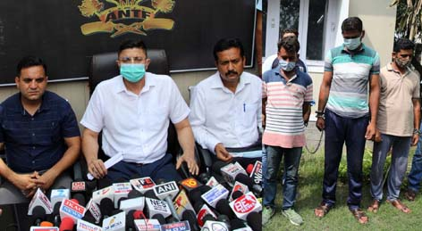 SP ANTF Vinay Sharma interacting with media persons at Jammu. -Excelsior/Rakesh