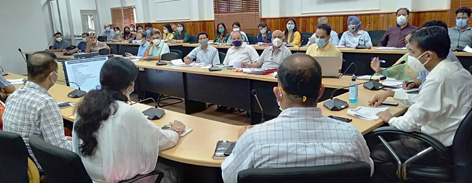 DC Jammu chairing a meeting on Friday.