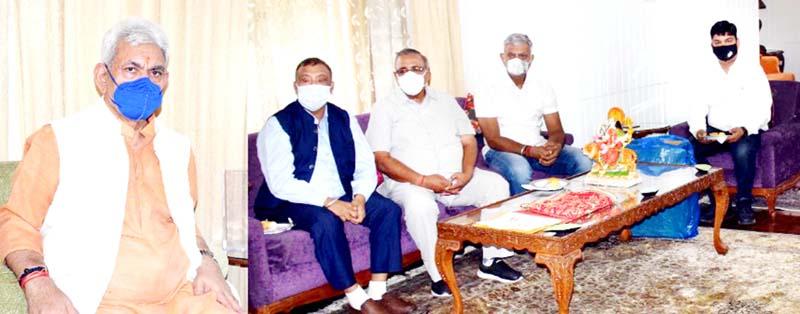 LG Manoj Sinha with delegation of Maa Vaishno Devi International Foundation on Monday.