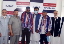 Former MLA Poonch, Shah Mohd Tantray and others being welcomed in party fold by JKAP president Altaf Bukhari at Srinagar.