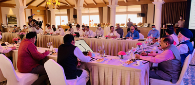 Union Ministers Dr Jitendra Singh, Hardeep Singh Puri and Prahalad Joshi at a high level Governing Body meeting of National Mineral Exploration Trust (NMET), at New Delhi, on Saturday.