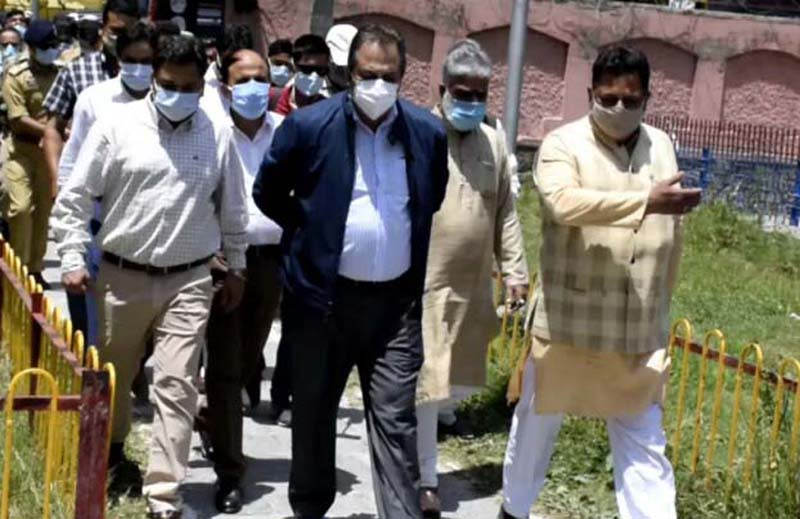 Advisor Baseer Khan during visit to Anantnag on Tuesday.