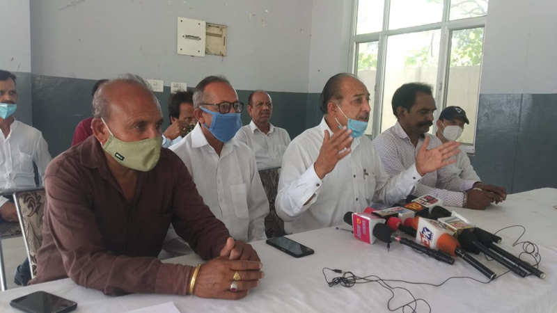 Dalit Chetna Manch president, S L Basson talking to media-persons in Jammu.