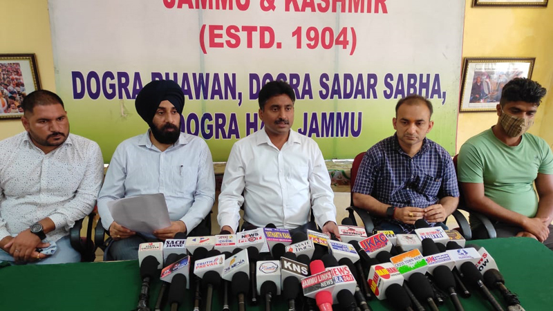 DSK incharge Media Cell Gambhir Dev Singh Charak addressing press conference in Jammu. — Excelsior/Rakesh