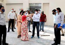 Div Com Jammu Dr Raghav Langer inspecting the work on Jammu Haat on Friday.