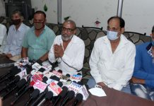 Social activist Swarn Singh and villagers from Mathwar area addressing press conference in Jammu on Friday. -Excelsior/Rakesh