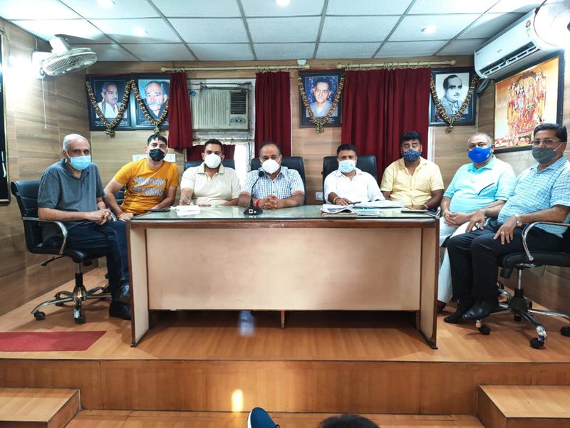 Traders during meeting at Jammu.
