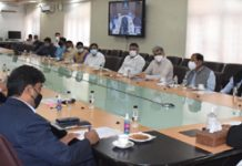 Lt Governor chairing a meeting on Saturday.