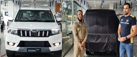 SHO Rambal, Nishant Gupta unveiling new Bolero Neo at Astro Mahindra Pvt Limited Udhampur on Thursday.
