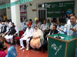 A PDP leader addressing a gathering on foundation day of the party at Jammu on Wednesday. —Excelsior/Rakesh