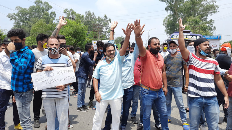 Youth protesting at Kathua on Saturday. —Excelsior/Pardeep Sharma