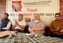 J&K Innovative Foundation holds 'Best Columnist Award-2021' function in Srinagar. —Excelsior/Shakeel