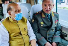 Defence Minister Rajnath Singh and Russian Defence Minister, General Sergei Shoigu heading towards the SCO Defence Ministers' meeting Hall in Dushanbe.