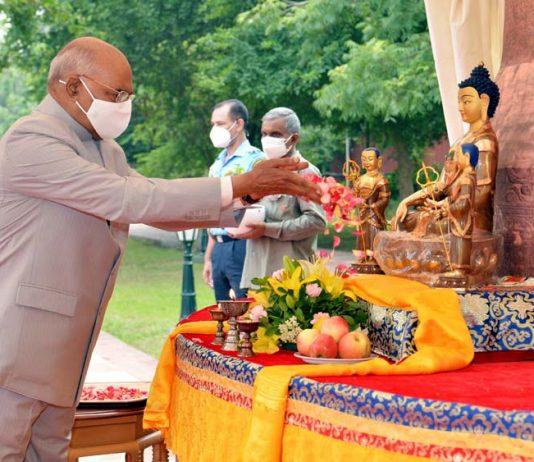 President Ram Nath Kovind at the Annual Asadha Poornima - Dharma Chakra Day, at Rashtrapati Bhavan, in New Delhi on Saturday. (UNI)