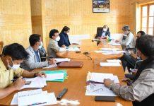 Advisor Ladakh Umang Narula chairing a meeting of officers at UT Secretariat in Leh.