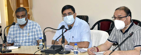 DDC Rajouri Rajesh K Shavan reviewing RDD works in district on Tuesday.