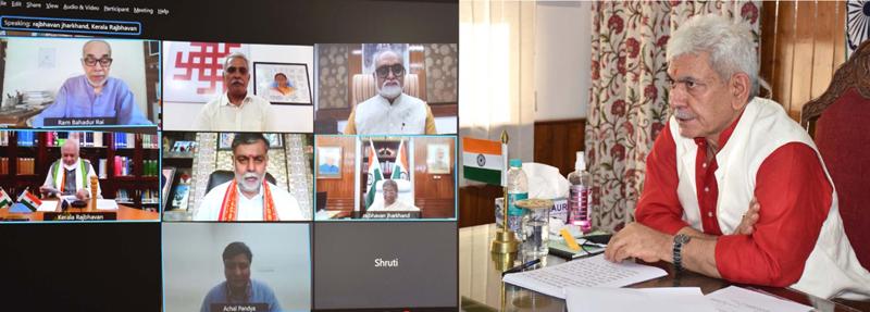 Lt Governor addressing the National Webinar to mark the birth anniversary of Dr Syama Prasad Mookerjee on Tuesday.