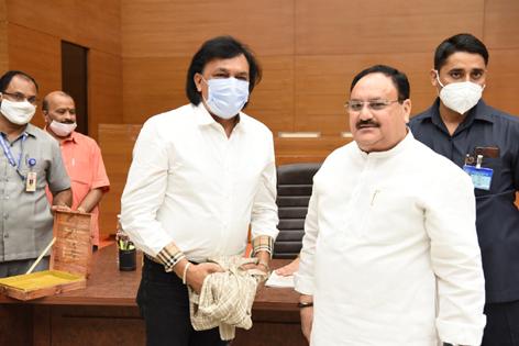 Senior BJP leader from J&K ShailenderVaid posing with Party's National president JP Nadda in New Delhi.