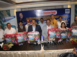 CMD E-Biotorium, Sagar Joshi flanked by Jay Dev Rajwal, J&K Head of Company at a press conference in Jammu on Saturday.
