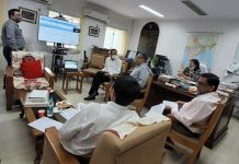 MP Ladakh Jamyang Tsering Namgyal during a meeting at Sanchar Bhavan, New Delhi.