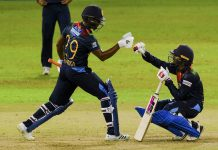 Sri Lankan players celebrating victory against India during 2nd T20 match at Colombo.