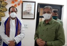 Former Deputy Chief Minister, Kavinder Gupta during a meeting with Union MoS, Ajay Bhatt at Delhi on Tuesday.