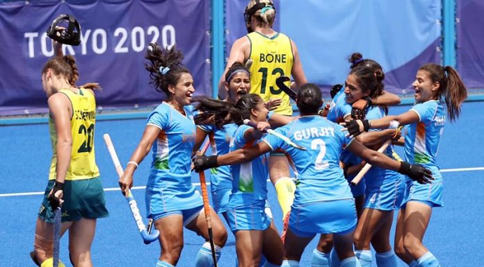 Indian players celebrating after beating Australia 1-0 in the women's quarter-final hockey match in Tokyo on Monday.(UNI)