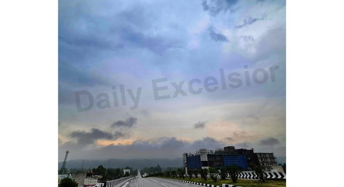 Panoramic view of Sidhra road on the outskirts of Jammu as clouds hover over the sky. -Excelsior/Rakesh