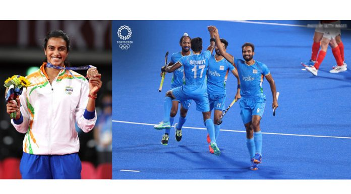 PV Sindhu reacts after winning bronze medal while hockey players celebrate victory over Great Britain to enter semifinals at Tokyo on Sunday.