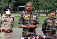 GOC 15 Corps Lt Gen D P Pandey and IGP Kashmir Vijay Kumar during a press conference in Srinagar on Saturday. -Excelsior/Shakeel