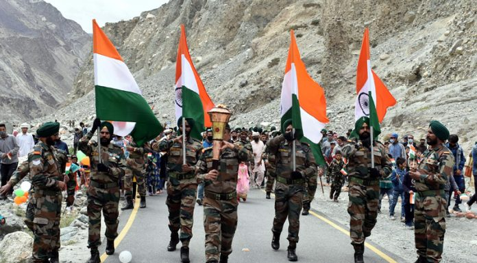 'Victory Flame', India's triumph over Pakistan in 1971 war, was given a grand reception at border area of Turtuk and Tyakshi in Ladakh on Wednesday. (UNI)