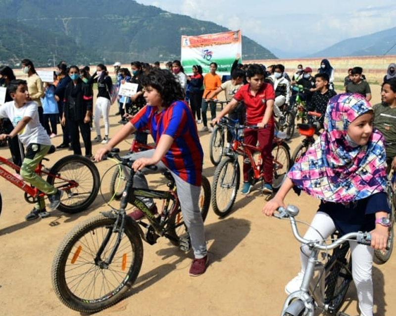 Participants during cycle rally at Doda on Wednesday.
