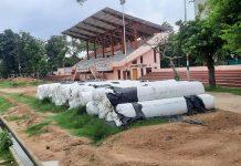 Dumped turf material at Mini Stadium, Parade in Jammu.