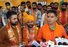 BJP president, Ravinder Raina during BJYM function at Jammu on Sunday. —Excelsior/Rakesh