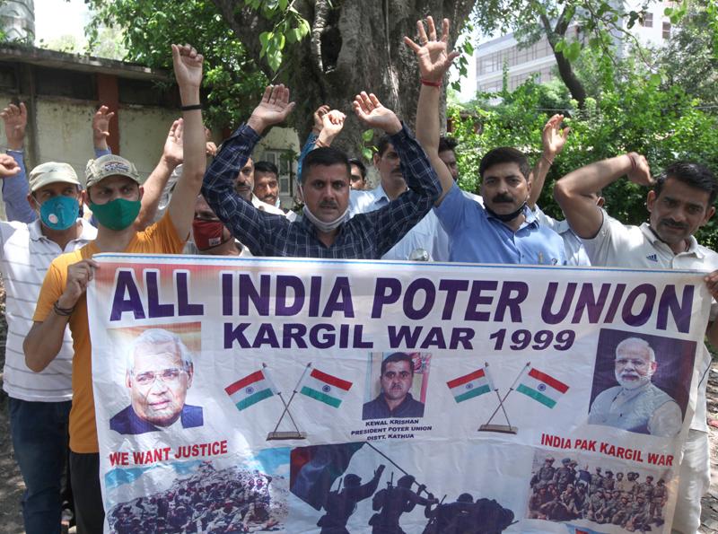 Kargil war porters staging protest in Jammu.
