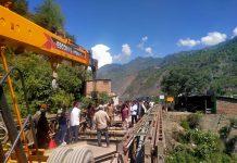 Repair work of Kanthir Balley Bridge in progress. — Excelsior/Pervaiz