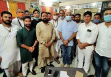 Representatives of religious shrines posing with former Minister Sham Lal Sharma after a meeting in Jammu.