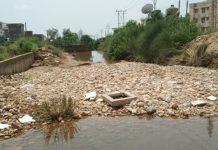 Stones accumulated in nallah.
