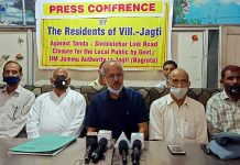 Jagti residents talking to reporters at Jammu on Sunday.