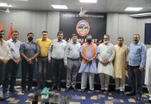 VHP leaders posing for a group photograph with CCI office bearers at Jammu on Wednesday.