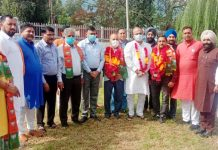 BJP leaders during a meeting at Poonch on Wednesday.