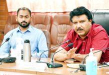 CEC LAHDC Kargil Feroz Khan chairing a meeting.