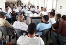 Ex-MLA Thakur Balwan Singh addressing a public meeting in Bhalwal on Wednesday.