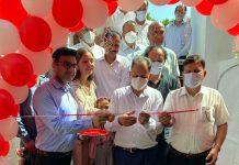 DDC Samba Chairman Keshav Sharma inaugurating diagnostic lab in Samba on Sunday.