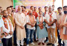 Senior BJP leaders during BJYM Working Committee meeting at Gajansoo Marh on Sunday.